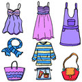Doodle of women clothes bag and accessories