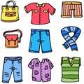 Doodle of women clothes set colorful