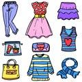 Doodle of women clothes set object
