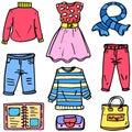 Doodle of women clothes style set