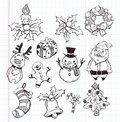 Doodle xmas element icon set Stock Photography