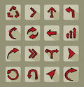 Doodled arrow set collection of different red doodle icons Stock Images