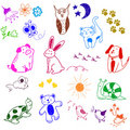 Doodles animais Fotos de Stock Royalty Free