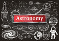 Doodles about astronomy on chalkboard with transparent frame with the word Astronomy Royalty Free Stock Photo