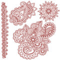 Doodles de Mehndi Paisley do Henna Foto de Stock Royalty Free