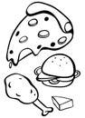 Doodles design for different fastfood