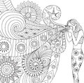 Doodles design of a photographer girl taking photo for coloring book for adult