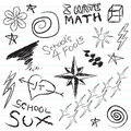 Doodles do caderno da escola Imagem de Stock Royalty Free