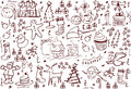 Doodles dos símbolos do Natal Foto de Stock Royalty Free