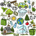 Doodles eco icon set hand drawn Royalty Free Stock Photography