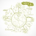 Doodles ecology and environment concept doodle energy with tree leaf flower around the globe decorative elements vector Royalty Free Stock Photography
