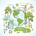Doodles ecology and environment concept doodle green life with decorative elements vector illustration Royalty Free Stock Image