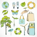 Doodles ecology and environment icons set doodle with plant tree hand butterfly flower decorative elements isolated vector Royalty Free Stock Images