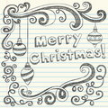 Doodles esboçado Hand-Drawn do Feliz Natal Fotografia de Stock Royalty Free