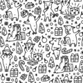 Doodles funnny pigs seamless pattern. Black and white symbol of the 2019 new year monochrome background Royalty Free Stock Photo