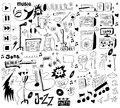 Doodles funny music background design elements Royalty Free Stock Image