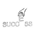 Doodles of hand putting letter E on the word SUCCESS Royalty Free Stock Photo