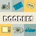 Doodles icons over vintage background vector illustration Royalty Free Stock Image