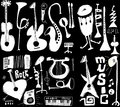 Doodles musical instruments funny music isolated on black Royalty Free Stock Photo