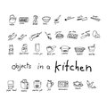 Doodles Of Object In Kitchen