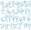 Doodles people of doing different things Royalty Free Stock Images