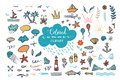 Vector hand-drawn colored clipart on sea / ocean / summer theme. Royalty Free Stock Photo