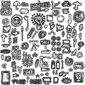 Doodles set business icons hand drawn background and texture Stock Image