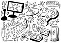 Doodles set computers games Royalty Free Stock Photo