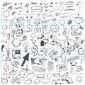 Doodles set of doodle drawings different items or sketches Royalty Free Stock Images