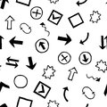 Doodles Set of Hand-Drawn Design Elements with Shapes, Arrows an