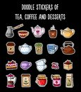 Doodles stickers of tea, coffee and desserts.