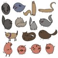 Doodles vector illustration of cartoon cat dog pig bat bird
