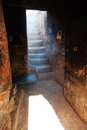 Door in an abandoned house in marrakesh incidence of light through a with stairs morocco Stock Images