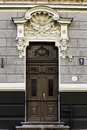 Door of art nouveau building riga latv jugendstil latvia forty per cent buildings in central are in the style more than any Royalty Free Stock Image