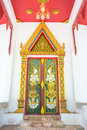 The door of asia temple thailand golden and white wall Royalty Free Stock Images