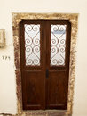 Door beautiful at the greek island with a sea view Stock Photography