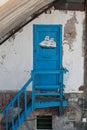 Door blue door of a warehouse Genoese Royalty Free Stock Photo