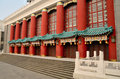 Door of chongqing auditorium red pillars Royalty Free Stock Image