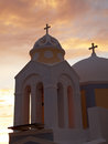 Door churches at the santorini island in evening time Royalty Free Stock Image