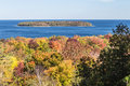 Door county tree color in wisconsin fall nears its peak on welcer s point and horseshoe island s peninsula state park Stock Photo