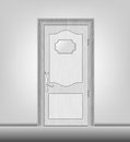 Door facade white wooden closed with a glossy tablet Royalty Free Stock Image