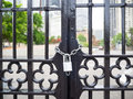Door gate with silver chain lock Royalty Free Stock Photo