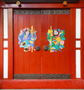 Door gods ménshén on red doors in china chengdu Stock Photography
