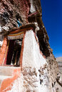 Door of gu pu er temple in precipice Royalty Free Stock Photography