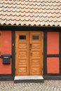Door of half timbered house in Ribe, Denmark Royalty Free Stock Photo