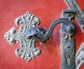 Door handle decoration detail of old entrance door in prague metal iron Royalty Free Stock Photography