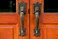 Door handle on wood Royalty Free Stock Photo