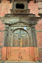 Door in Hanuman Dhoka Basantapur Durbar square at Kathmandu Royalty Free Stock Photo