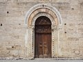 Door of a historic church bevagna umbria italy st michele arcangelo Stock Photography
