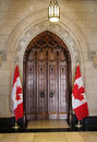 The door of house of commons in canadian parliament in ottawa canada Royalty Free Stock Photo